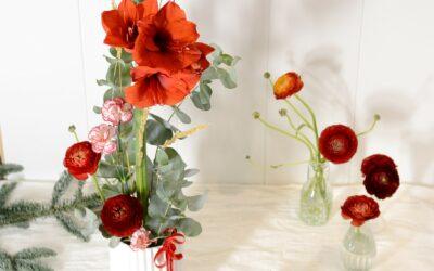 Korkea kukka-asetelma joulukotiin