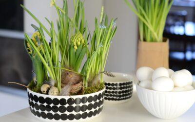 Pääsiäisen söpöin koriste syntyy tarjoilukulhoon – katso vinkkiä Marimekon Räsymatto-kuosiseen astiaan tehdystä asetelmasta